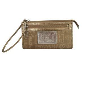 Coach Gold Poppy Story Patch Wristlet Wallet